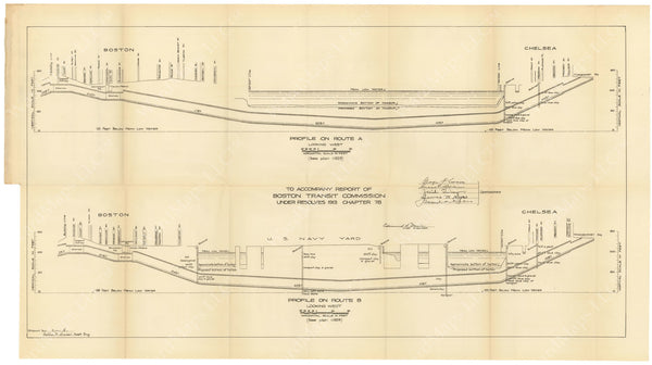 BTC Annual Report 20, 1914: Proposed Chelsea Tunnel Profiles