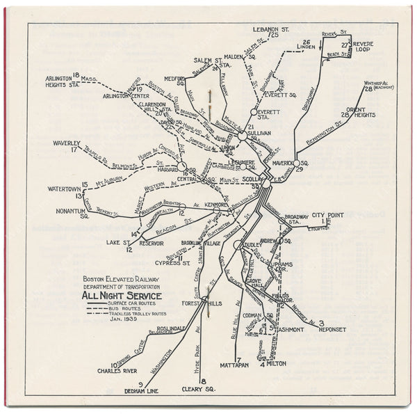 Boston Elevated Railway Night Service Map 1939
