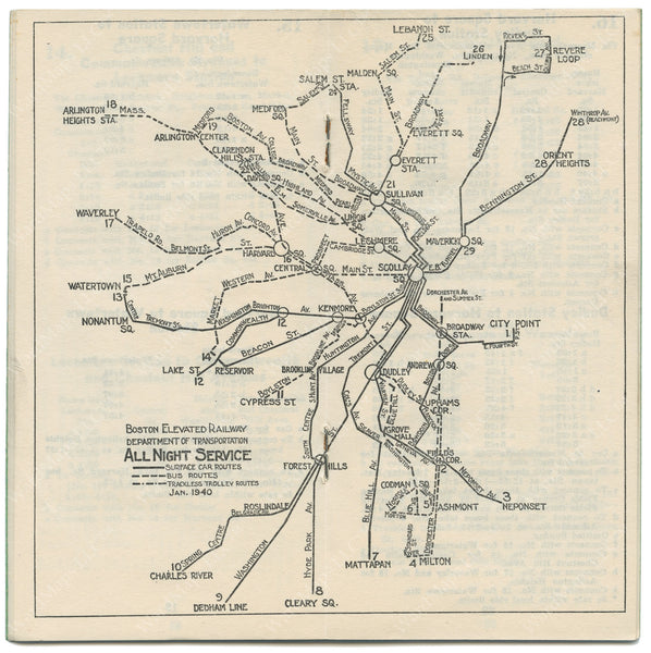 Boston Elevated Railway Night Service Map 1940