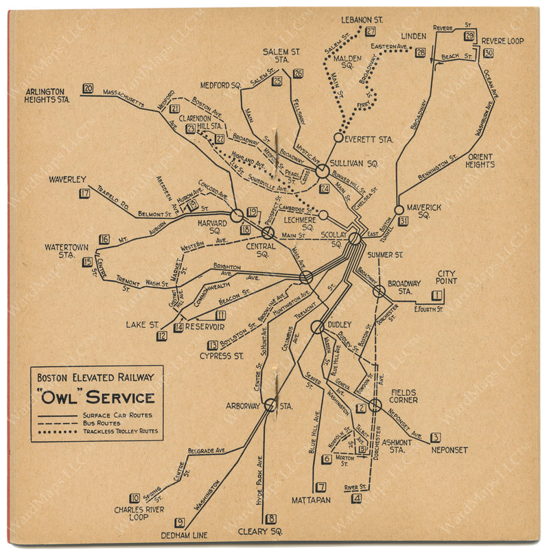 Boston Elevated Railway Night Service Map 1945