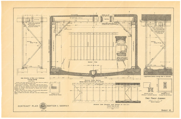 BTC Annual Report 01, 1895 Sheet 12: Two Track Subway