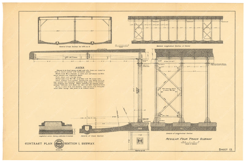 BTC Annual Report 01, 1895 Sheet 13: Regular Four Track Subway