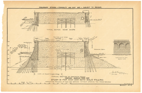 Charles River Dam Report 1903 Sheet 002: Study B
