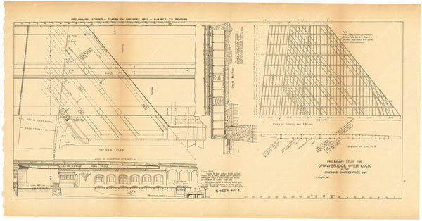 Charles River Dam Report 1903 Sheet 004: Drawbridge