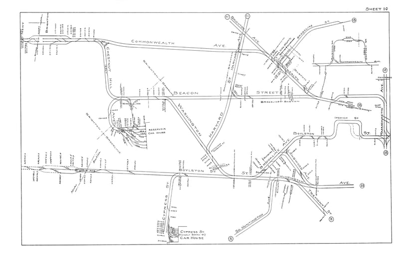 Boston Elevated Railway Co. Track Plans 1915 Plates 10: Brookline