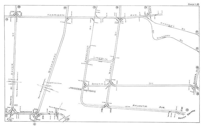 Boston Elevated Railway Co. Track Plans 1915 Plate 30: Boston - South End