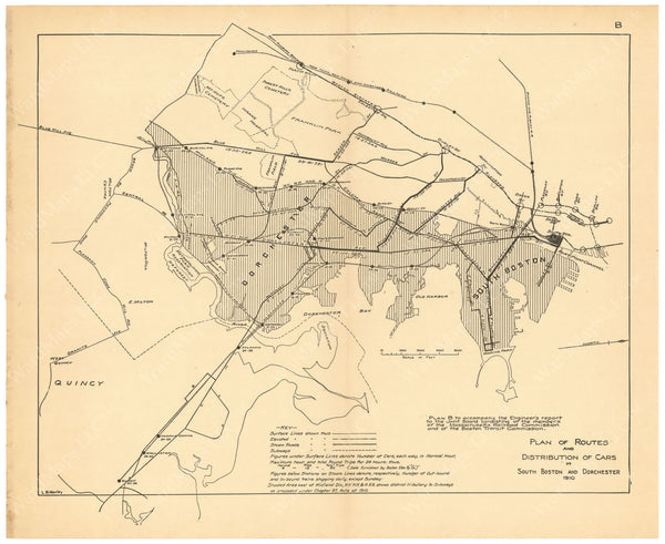 BTC Annual Report 17, 1911 Plate B: Streetcar Routes and Distributions in South Boston and Dorchester