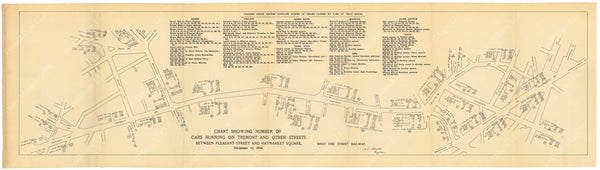 BTC Annual Report 01, 1895: Chart of Streetcars Between Pleasant Street and Haymarket Square, December 10, 1894