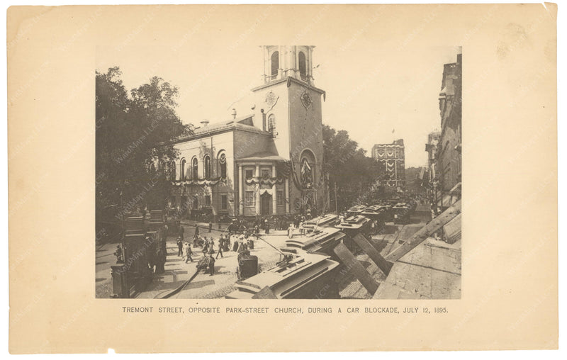 BTC Annual Report 01, 1895: Tremont Street Streetcar Blockade, July 12, 1895