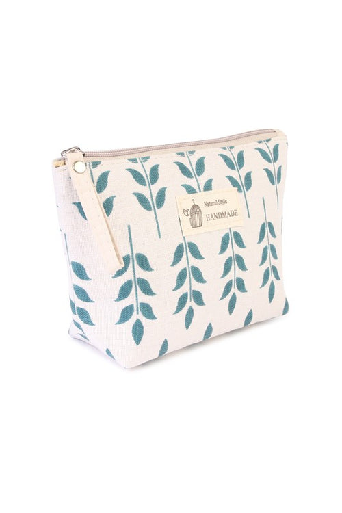 Leaf Print Cosmetic Bag
