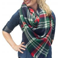 Navy, Green, and Red Plaid Scarf