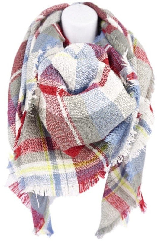 Lt Blue/Burgundy/White Blanket Scarf