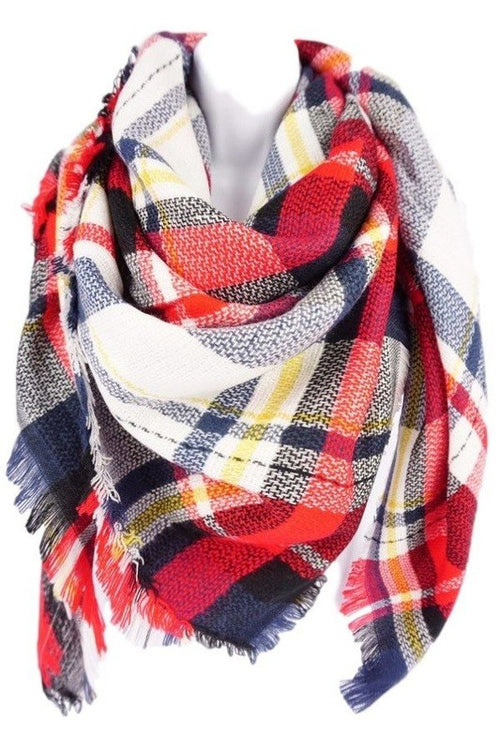 Red/White/Blue/Yellow Blanket Scarf