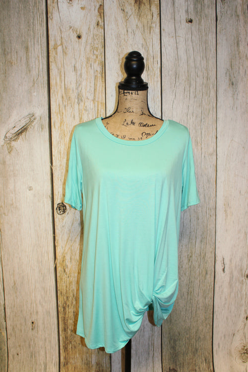 Solid Short Sleeve Tunic with Knotted Hemline
