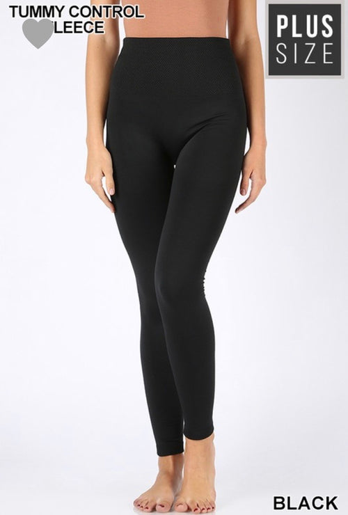 Curvy Tummy Control Fleece Leggings