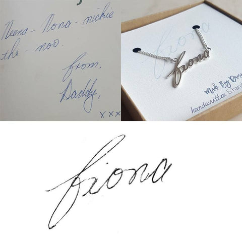 Bespoke handwriting jewellery