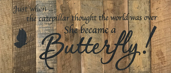 Just when the caterpillar thought the world was over she became a butterfly (14x6) Reclaimed Wood Wall Art