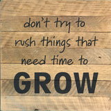 Don't try to rush things that need time to grow  (14x14) - Reclaimed Wood Wall Art