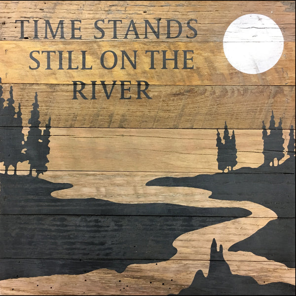 Time Stands Still at the River (14x14) Reclaimed Wood Wall Art
