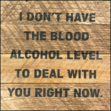 I don't have the blood alcohol level to deal with you right now.