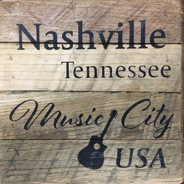 Nashville Tennessee Music City USA - Reclaimed Wood Wall Art (6x6)