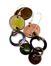 Blue Skies and Green Field Penny Earrings