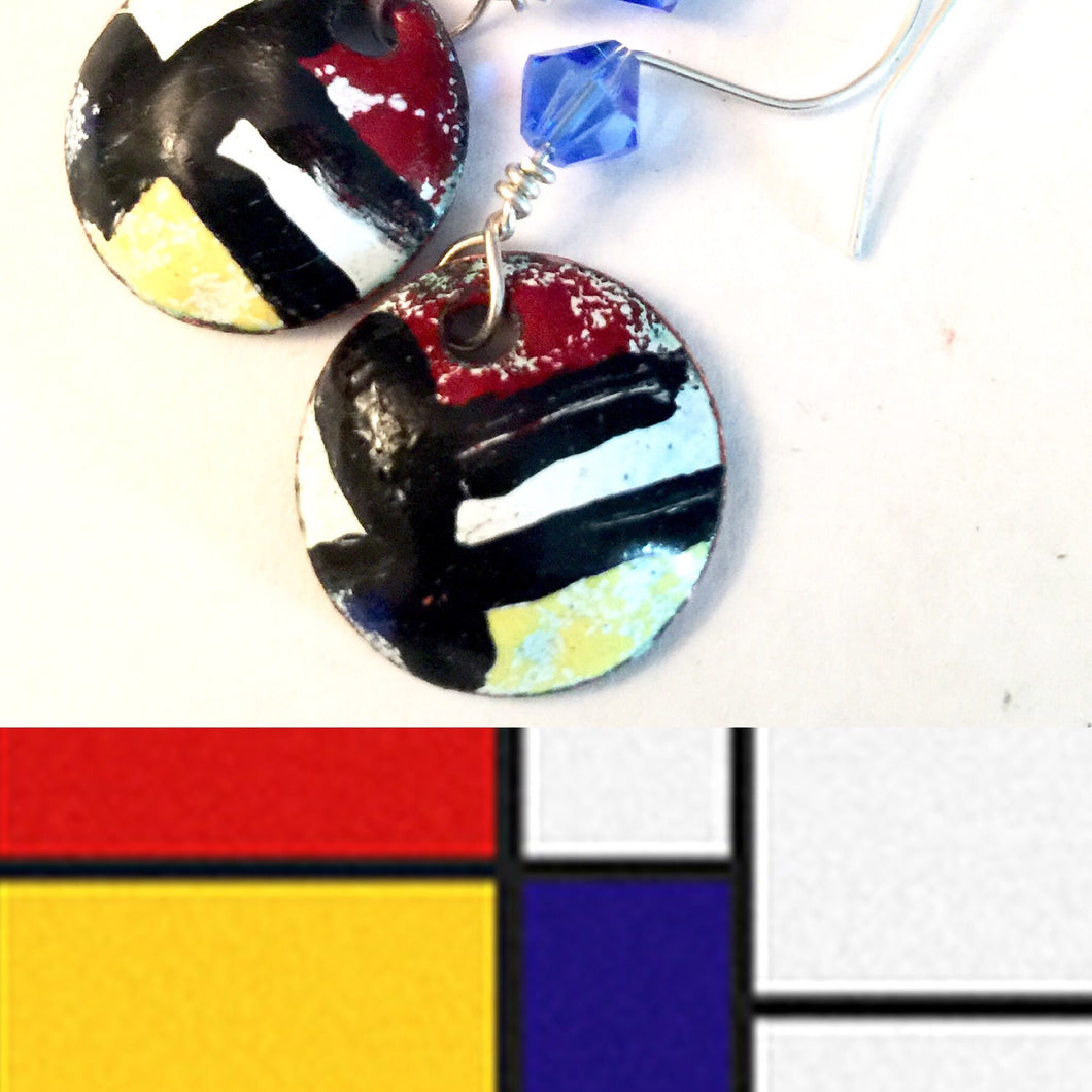Famous Artists Mondrian Penny Earrings