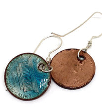 Turquoise Blue Copper Penny Necklace with Aquamarine Accent