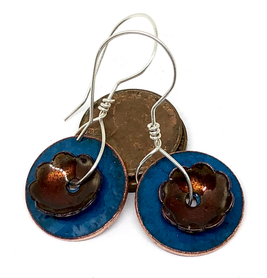 Windfall Blue with Flower Penny Earrings