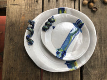 Fall Platter Round - Earthy Blues and Greens with Stem Handle