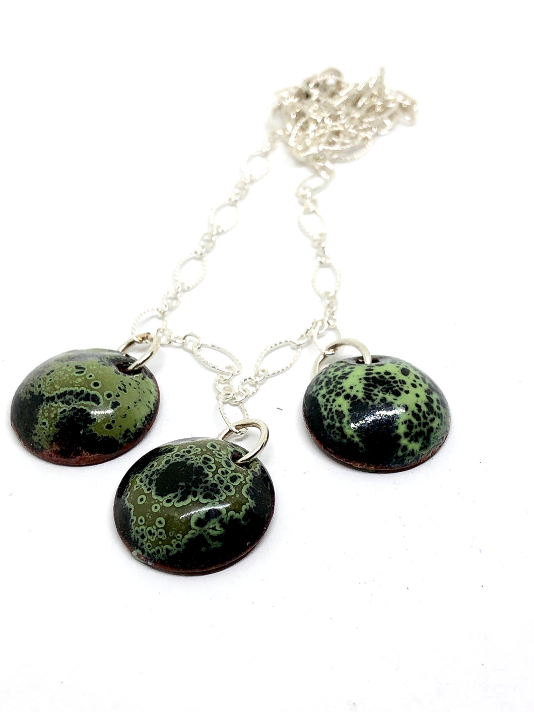 Mossy Crackle with Black Penny Necklace