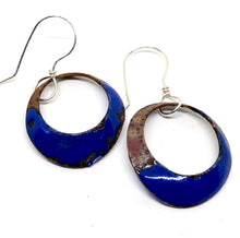 Blue Dangle Penny Earrings