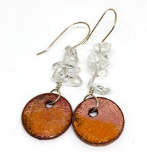 Autumn Orange with Quartz accents Penny Earrings