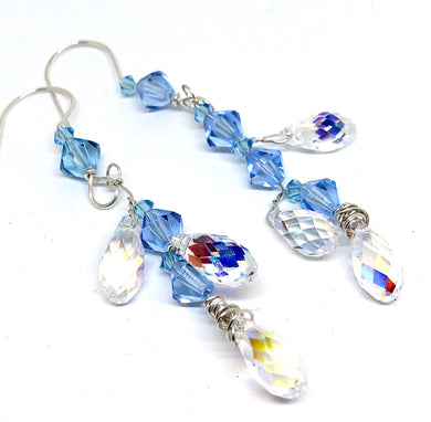 Swarovski Crystal Blue Dangle Earrings