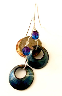 Transparent Blue Penny Enamel Earrings with added Crystal