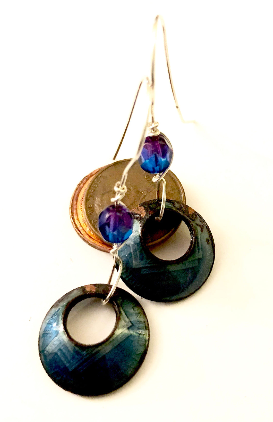 Deep Blue Penny Enamel Earrings with added Crystal