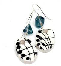 Porcelain Music Earrings with Fluorite