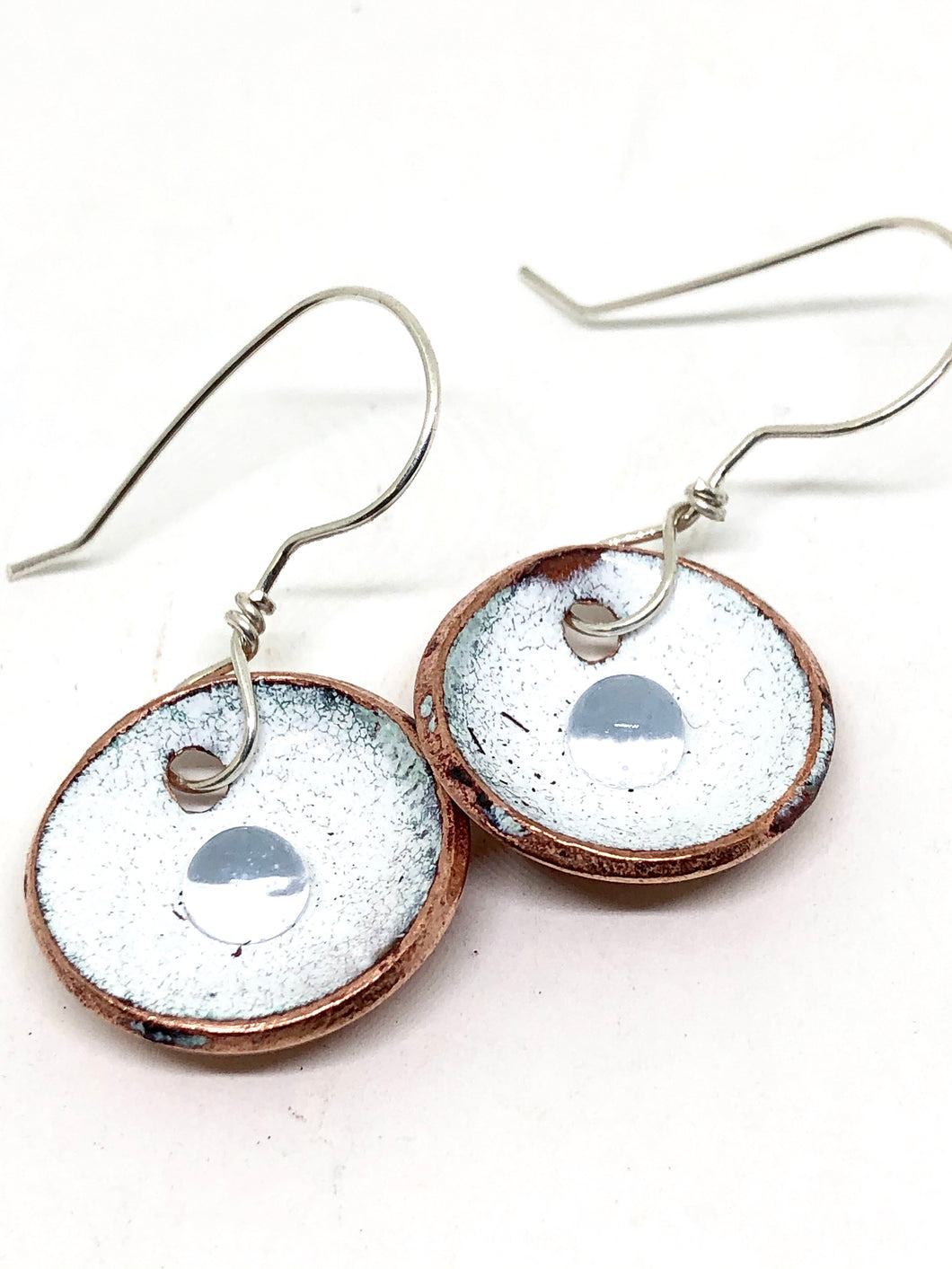 Snowflake White with Microbead Penny Earrings