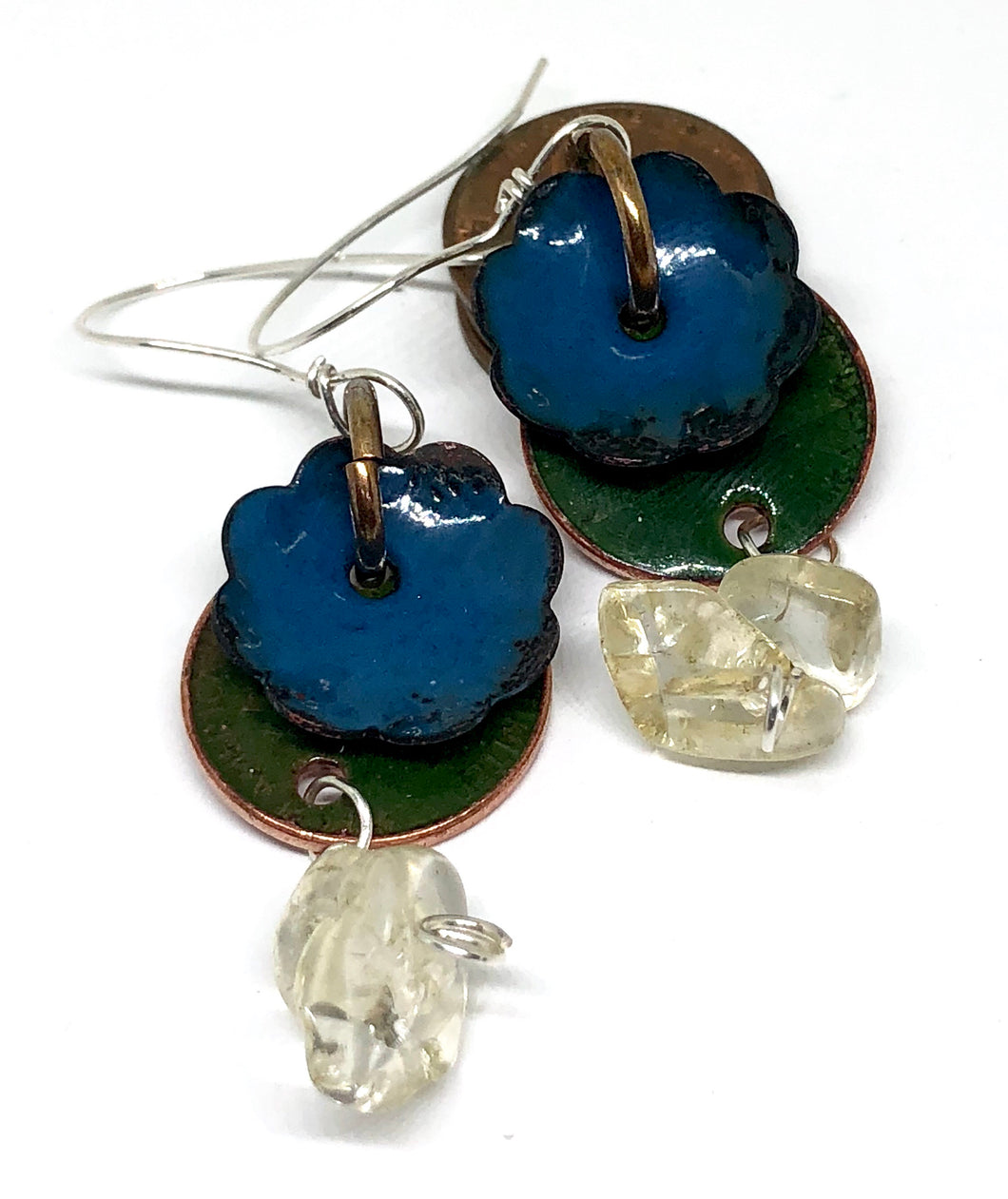 Green Fields with Flower Penny Earrings