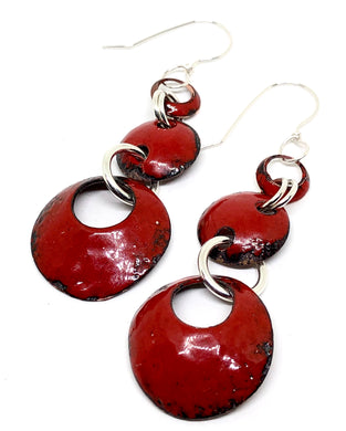 Red Triple Dangles Penny Earring