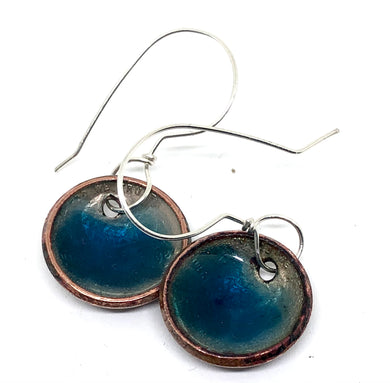Caribbean Blue Penny Earrings with Microbeads