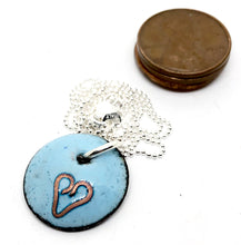 Blue Valentine Necklace with Cloisonne Heart