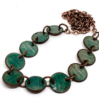 Emerald Penny Enamel Necklace on Copper Chain