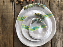 Fall Platter Round - Earthy Greens and Yellow with Stem Handle
