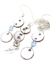 Icy White Penny Dangle Necklace with added Swarovski Prism Crystal