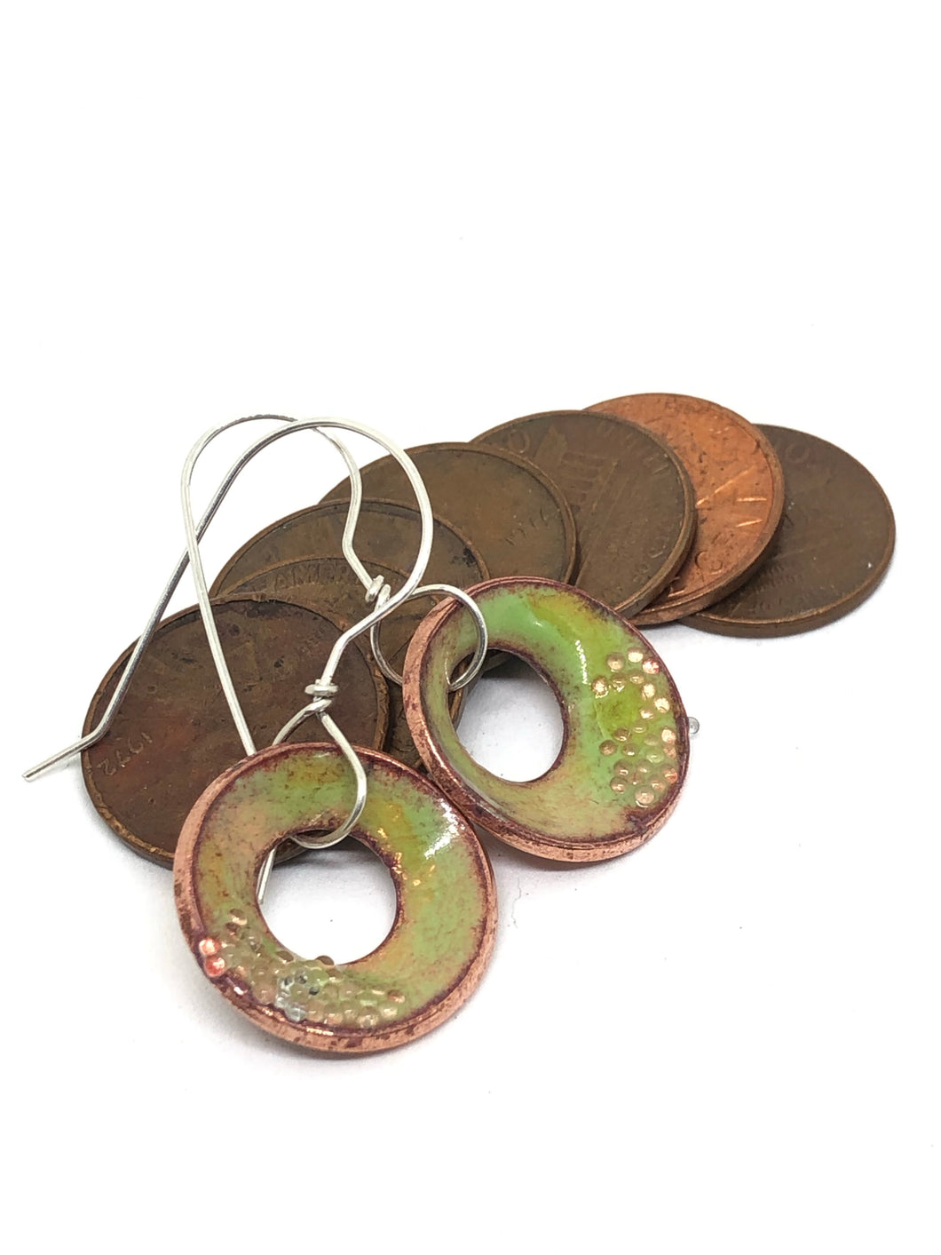 Breezy Green Copper Penny Earrings Single-Dangled