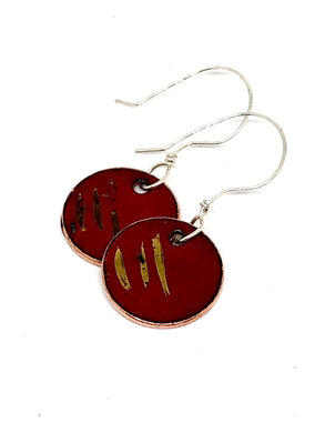 Gold Collection Classic Red Penny Earrings