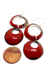 Red Double Dangles Penny Earring