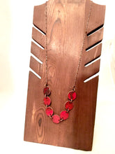 Burnt Red Penny Enamel Necklace on Copper Chain