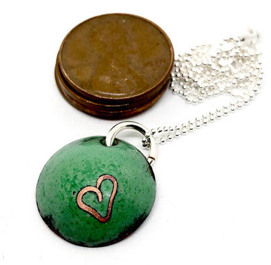 Verde Valentine Necklace with Cloisonne Heart